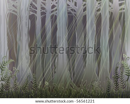 Ancient magical forest understory with a few sunrays piercing through the thick canopy (AI-optimized EPS 8 file, other landscapes are in my gallery) - stock vector