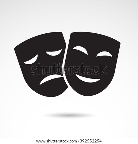 Ancient mask icon isolated on white background. Vector art. - stock vector