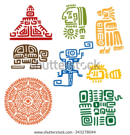 Ancient mayan and aztec totems or religious signs with colorful symbols of sun, bird, snake, turtle, fish, lizard, pyramid and warrior. For tattoo or t-shirt design - stock vector