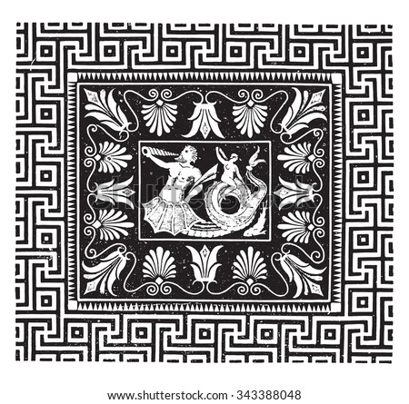 Ancient mosaic, Temple of Jupiter at Olympia, vintage engraved illustration. Industrial encyclopedia E.-O. Lami - 1875.