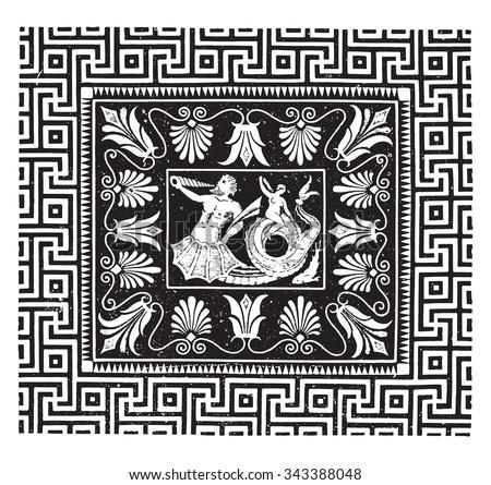 Ancient mosaic, Temple of Jupiter at Olympia, vintage engraved illustration. Industrial encyclopedia E.-O. Lami - 1875. - stock vector