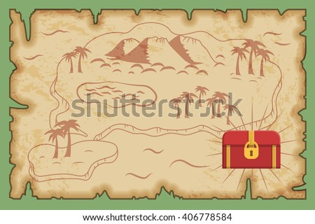 Ancient old pirate treasure map pattern, island map on brown old paper and ancient treasure chest with gold and riches. - stock vector