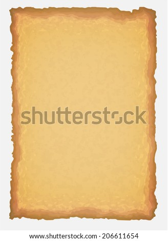 Ancient old yellow paper, with scratches and torn edge - stock vector