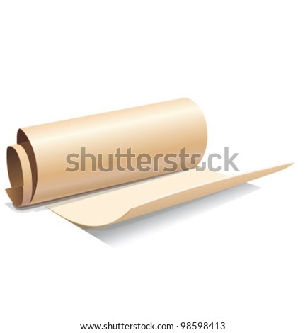 Ancient paper roll icon isolated on white background. Vector illustration
