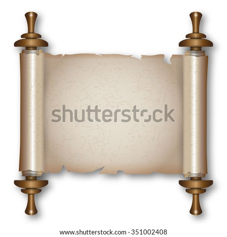 Ancient paper scroll with wooden handles and shadow. vector illustration isolated on white background - stock vector