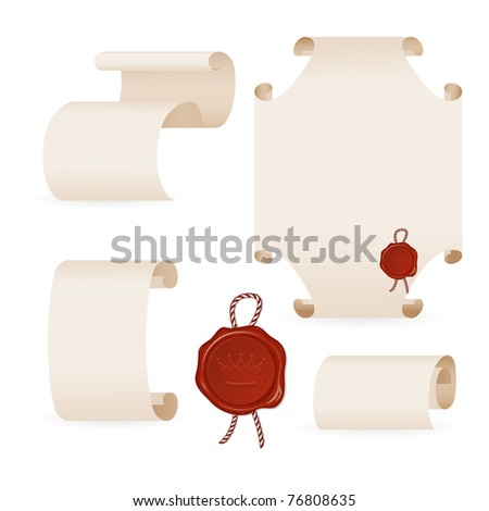 ancient parchment with seal - stock vector