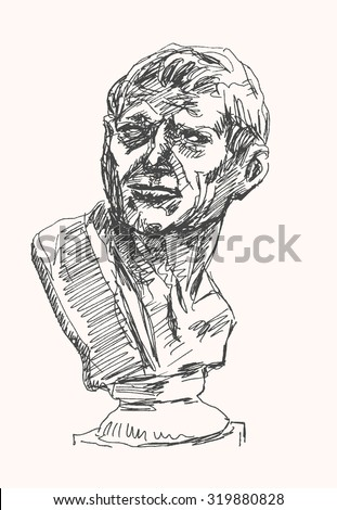 Ancient person bust sculpture, in sketch hand drawing style, for antique art and history design