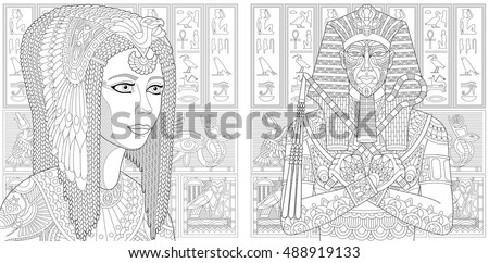 ancient pharaoh tutankhamen queen cleopatra nefertiti egyptian symbols hieroglyphs on - Coloring Book Paper Stock