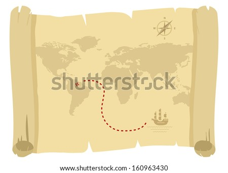 ancient pirate map for golden treasure - stock vector
