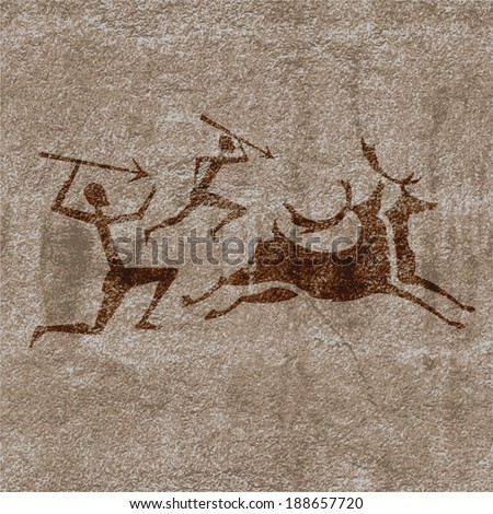 Ancient rock paintings show  primitive people hunting on animals vector illustration - stock vector