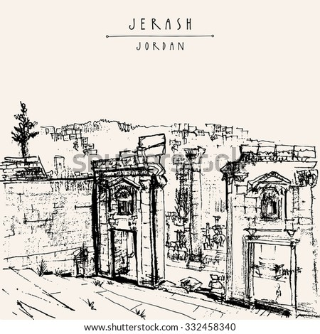 Ancient Roman city of Jerash, Jordan, Middle East. Black and white vintage artistic hand drawn postcard or poster in vector - stock vector