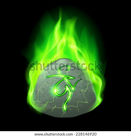 Ancient rough stone with magic rune in green flame