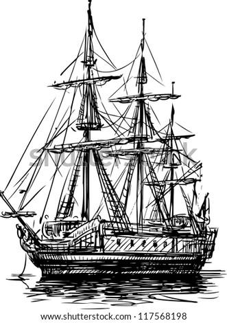 ancient sailboat - stock vector