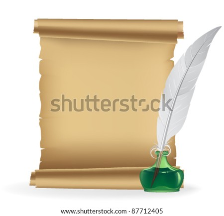Ancient scroll and inkstand with a quill pen on a white background - stock vector