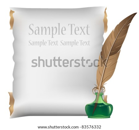 Ancient scroll, feather and inkwell on a white background - stock vector