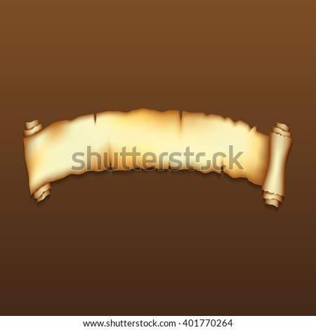 Ancient  scroll on brown background with shadow - stock vector