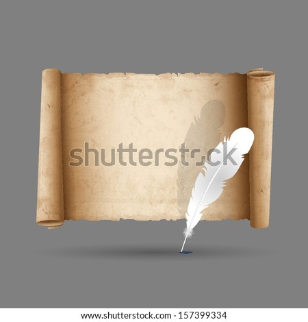 Ancient scroll paper with feather. Vector EPS10  - stock vector