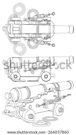 Ancient Ship Artillery Gun XVII - XIX-th Century Vector  - stock vector