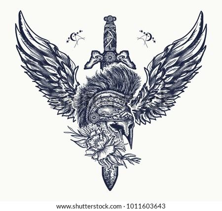 Ancient Soldier Spartan Warrior Tattoo Swords Stock Vector