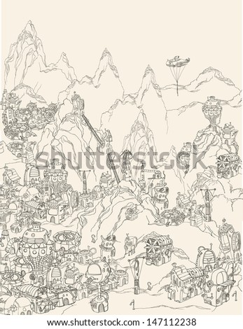 Ancient steampunk civilization. - stock vector