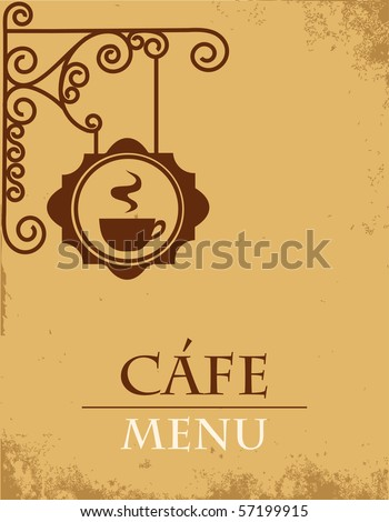 Ancient street signboard coffee house - stock vector