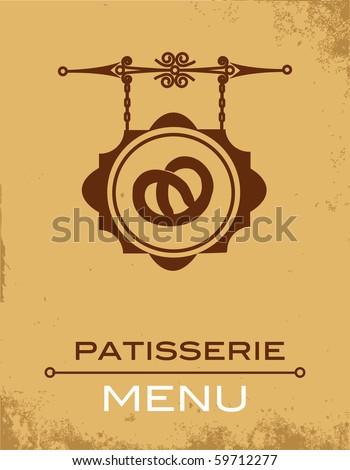 Ancient street signboard of  bakery - stock vector