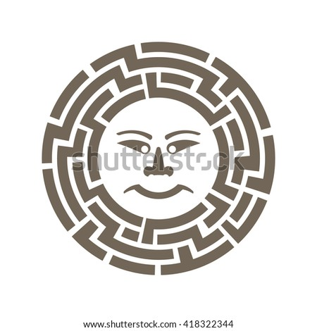 Ancient sun hieroglyph. Vector graphic design - stock vector