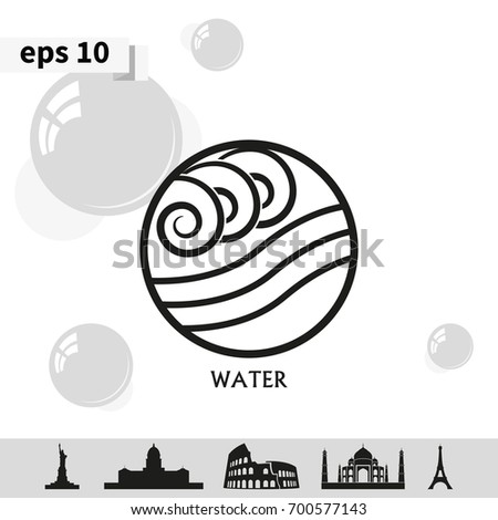 Ancient Symbol Water Element Subscribe Stock Vector 700577143