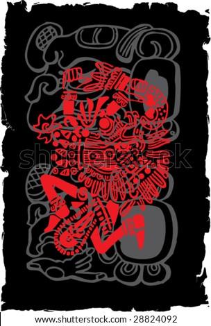 Ancient symbols of Mayan Indians Grunge Illustration - stock vector