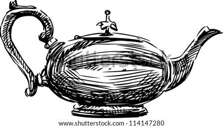 ancient teapot - stock vector