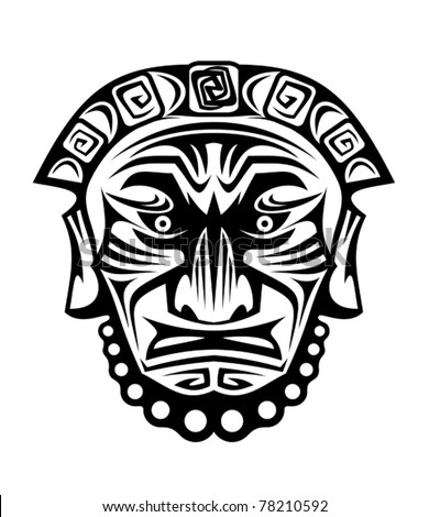 Ancient tribal religious mask isolated on white. Jpeg version also available