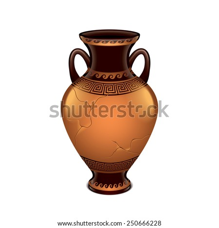 Ancient vase isolated on white photo-realistic vector illustration - stock vector