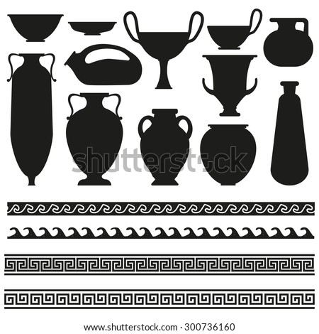 Ancient vase with greek geometric ornament for your designs  - stock vector