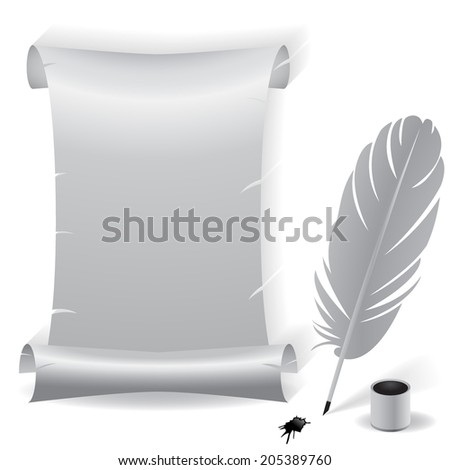 Ancient vector blank aged worn paper scroll with grey coloring and ragged torn edges with feather,pen and inkwell and ink blot on a white background with shadow and copyspace for your message  - stock vector