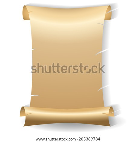 Ancient vector blank aged worn paper scroll with yellowed coloring and ragged torn edges on a white background with shadow and copyspace for your message or text - stock vector