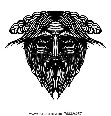 Ancient viking head graphics and design elements. Viking pride text. Odin. Vector vintage illustration.