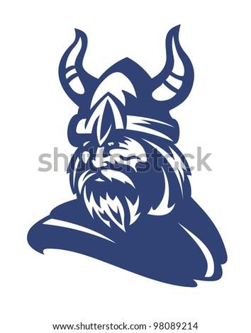 Ancient viking in helmet with horns. Vector illustration - stock vector