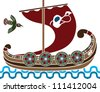 Ancient vikings ship with shields stencil second colored variant - stock vector