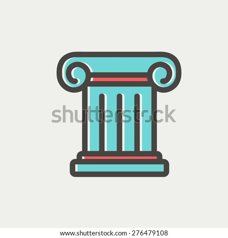 Ancient wall icon thin line for web and mobile, modern minimalistic flat design. Vector icon with dark grey outline and offset colour on light grey background. - stock vector