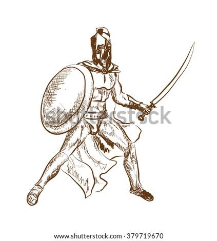 Ancient Warriors sketch. Vector Image - stock vector