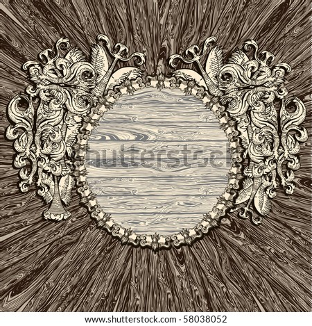 Ancient Wooden Medallion - stock vector