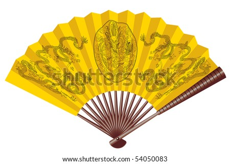 Ancient yellow chinese fan with dragons - stock vector