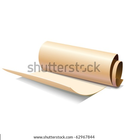 Ancient yellow paper scroll or roll icon in vector cartoon style isolated on white background