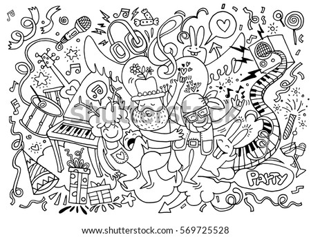 and drawing Doodle Vector Illustration of Funny party people ,Flat Design