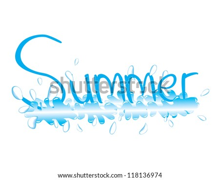 And illustration of the word Summer splashing - stock vector