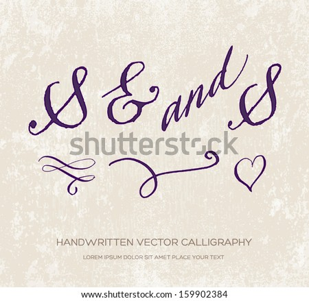 And signs and swashes. Original handwritten calligraphy over old beige grungy weathered paper background. Doodle heart. Can be used for wedding and engagement invitations. Violet ink - stock vector