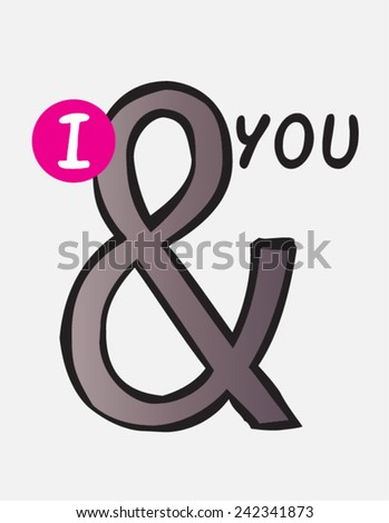 And symbol, ampersand hand drawn doodle vector