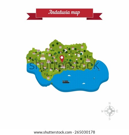 Andalusia, Spain map. Flat style design - vector - stock vector