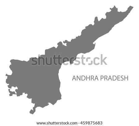 Andhra Pradesh India Map Grey Stock Vector (Royalty Free) 459875683 ...