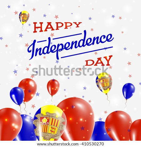 Andorra Independence Day Patriotic Design. Balloons in Andorran National Colors. Happy Independence Day Andorra Vector Greeting Card.